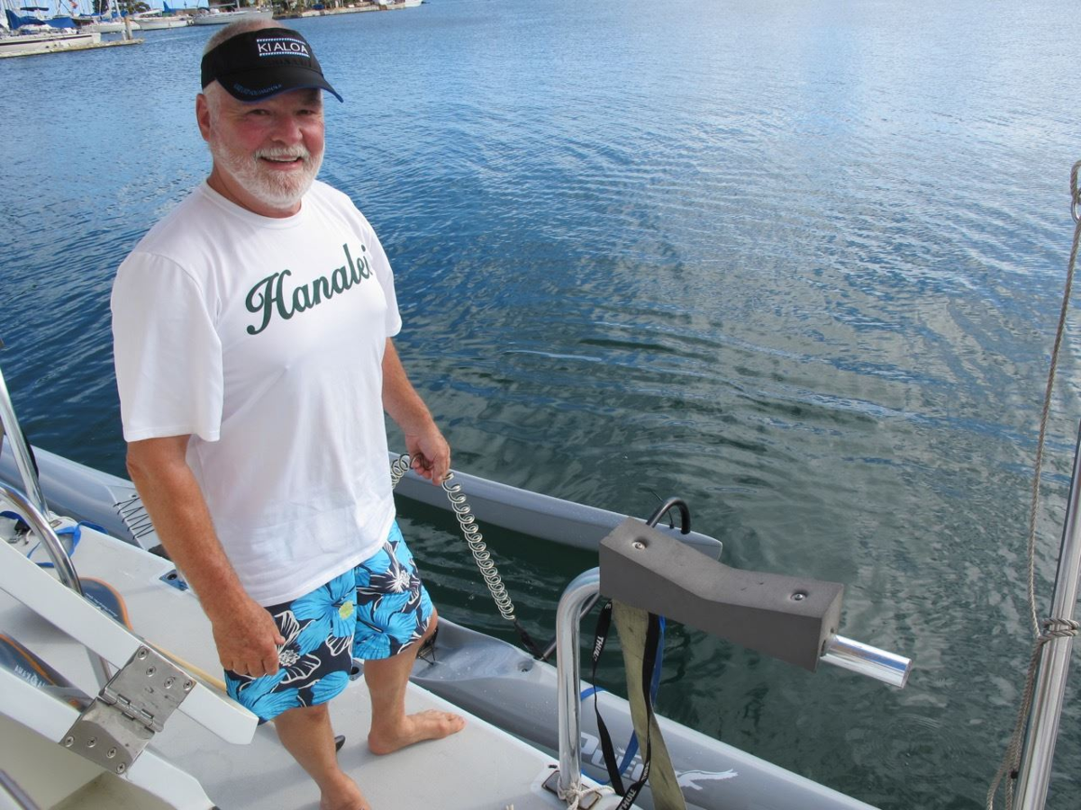 Don with his much loved outrigger canoe